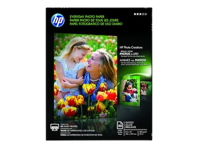 "HP Everyday Glossy Photo Paper, 8.5"" x 11"", 50/Pack (Q8723A)"