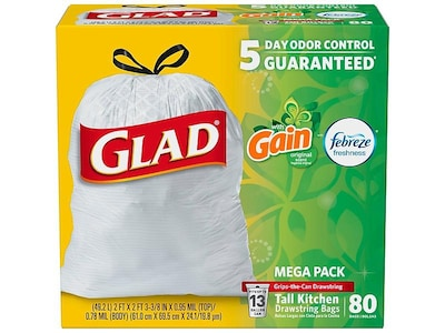Glad OdorShield Tall Kitchen Drawstring Trash Bags, GAIN, 13 Gallon, 80 Bags/Box (78900)