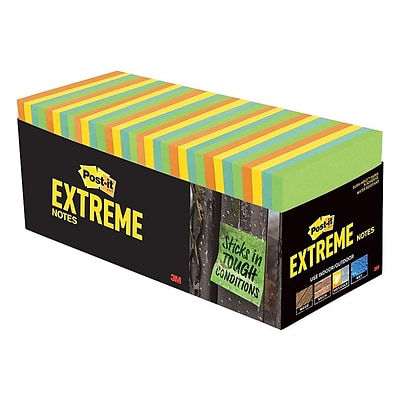 Post-it® Extreme Notes, 3 x 3, Orange, Green, Yellow, Mint, 32 Pads/Pack (EXTRM33-32CBNT)