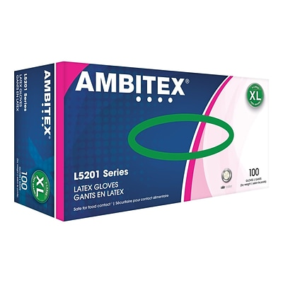 *FIRST RESPONDERS & HEALTHCARE ONLY* Ambitex L5201 Series Powder-Free Cream Latex Gloves, Extra Large, 100/Box (LXL5201)