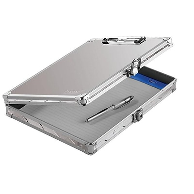 Vaultz Locking Aluminum Storage Clipboard, Silver (VZ00698-DAS)