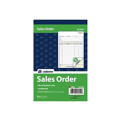 Adams 2-Part Carbonless Sales Orders Book, 5.56W x 8.44L, 50 Forms/Book (DC5805)