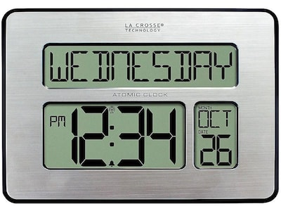 Lacrosse Technology La Crosse Technology Atomic Wall/Table Clock, Metal, 7.5H x 9.75W x 1D (513-1419), Silver | Quill (52480654 5131419INT) photo