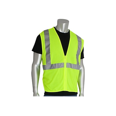 PIP Zipper Safety Vest, ANSI Type R Class 2, 2XL, Hi-Vis Lime Yellow (302-MVGZ-LY/2X)