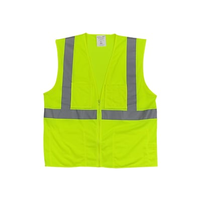 PIP Zipper Safety Vest, ANSI Type R Class 2, 2XL, Hi-Vis Lime Yellow (302-MVGZ4P-LY/2X)