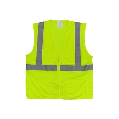 PIP Zipper Safety Vest, ANSI Type R Class 2, 3XL, Hi-Vis Lime Yellow (302-MVGZ4P-LY/3X)