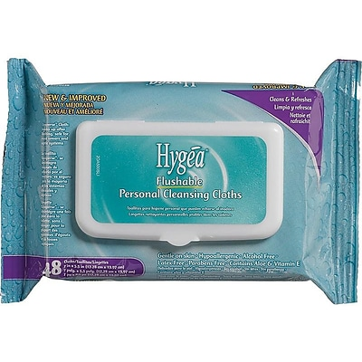 Hygea Flushable Wipes, Floral, 48 Wipes/Pack 12 Packs/Case (A500F48)