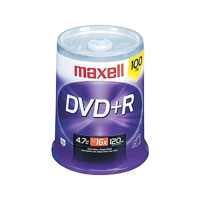 Maxell 639016 16x DVD+R, Silver, 100/Pack