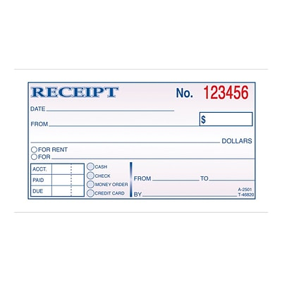 Adams 2-Part Carbonless Receipts Book, 2.75L x 4.88W, 50 Forms/Book, Each (DC2501)