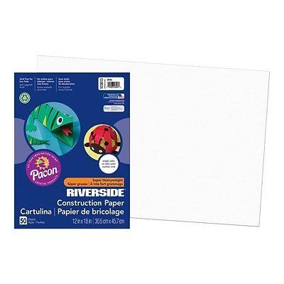 Riverside 12W x 18L Construction Paper, White, 50/Pack (103613)