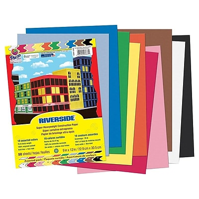 Riverside 9W x 12L Construction Paper, Assorted Colors, 50/Pack (103637)