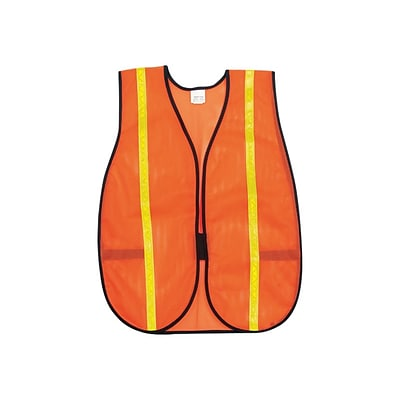 River City MCR Safety Hook & Loop Safety Vests, Non-ANSI, One Size, Orange, 12/PK (V211R)