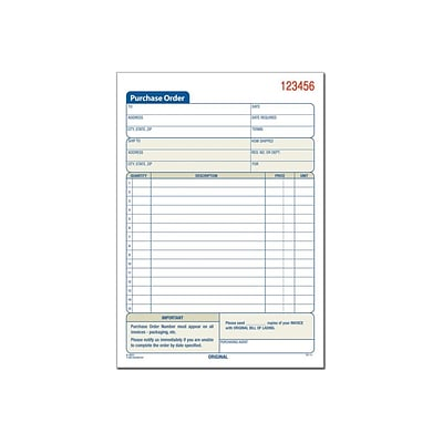 Adams 2-Part Carbonless Purchase Requisitions Pad, 8.44L x 5.56W, 50 Forms/Pad, 10/Box (ABF DC5831-10)