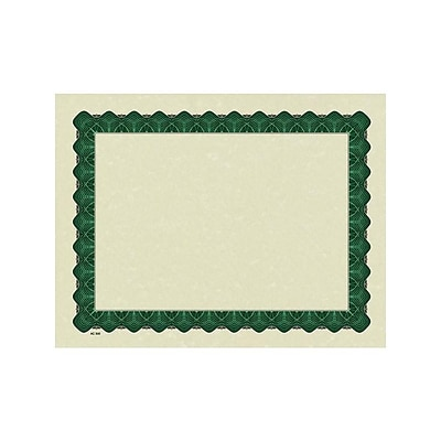 Great Papers Metallic 8.5 x 11 Certificates, Beige/Green, 100/Pack (934200)