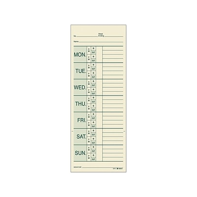 Adams Time Cards for Pyramid 1000 Time Clock, 200/Pack (9791-200)