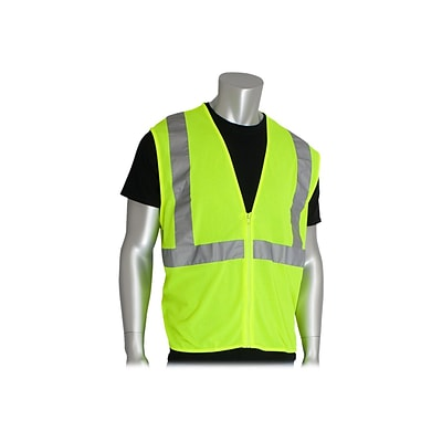 PIP Zipper Safety Vest, ANSI Type R Class 2, X-Large, Hi-Vis Lime Yellow (302-MVGZ-LY/XL)