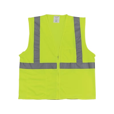 PIP Zipper Safety Vest, ANSI Type R Class 2, Large, Hi-Vis Lime Yellow (302-0702Z-LY/L)