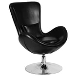 Black Leather Egg Series Reception-Lounge-Side Chair [CH-162430-BK-LEA-GG]
