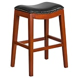 30 High Backless Light Cherry Wood Barstool with Black Leather Seat [TA-411030-LC-GG]
