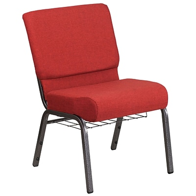 21 Wide Red Fabric Church Chair with 4 Thick Seat, Cup Book Rack - Silver Vein Frame [FD-CH0221-4-SV-RED-BAS-GG]