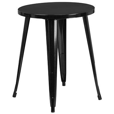 24 Round Black Metal Indoor-Outdoor Table (CH-51080-29-BK-GG)