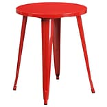 24 Round Red Metal Indoor-Outdoor Table [CH-51080-29-RED-GG]