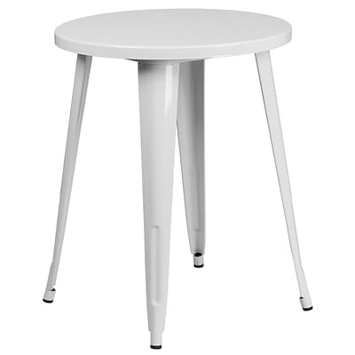 24 Round White Metal Indoor-Outdoor Table (CH-51080-29-WH-GG)