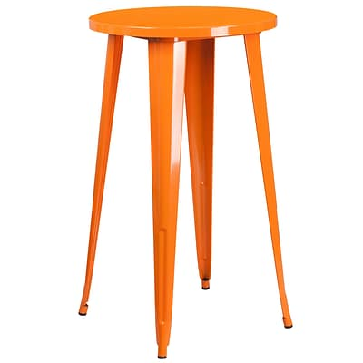 24 Round Orange Metal Indoor-Outdoor Bar Height Table [CH-51080-40-OR-GG]