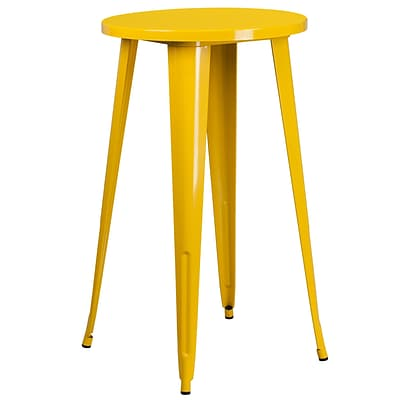 24 Round Yellow Metal Indoor-Outdoor Bar Height Table [CH-51080-40-YL-GG]