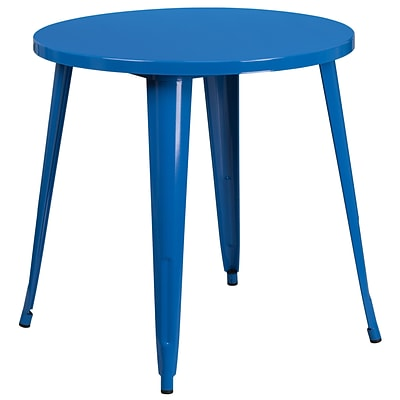 30 Round Blue Metal Indoor-Outdoor Table [CH-51090-29-BL-GG]