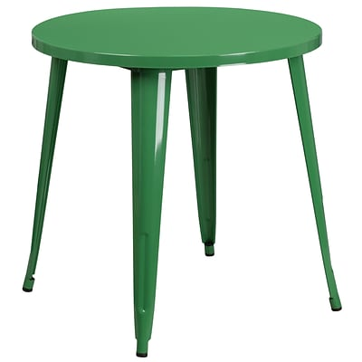 30 Round Green Metal Indoor-Outdoor Table [CH-51090-29-GN-GG]