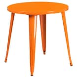 30 Round Orange Metal Indoor-Outdoor Table (CH-51090-29-OR-GG)
