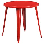 30 Round Red Metal Indoor-Outdoor Table (CH-51090-29-RED-GG)