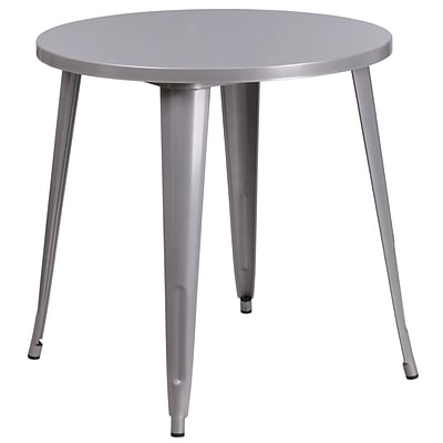 30 Round Silver Metal Indoor-Outdoor Table [CH-51090-29-SIL-GG]