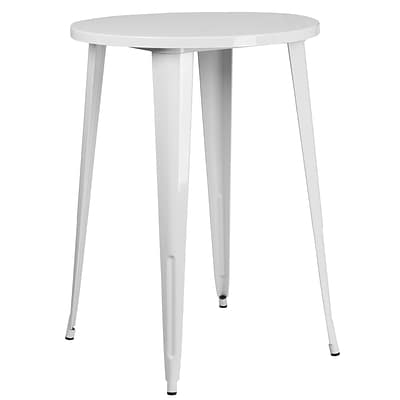 30 Round White Metal Indoor-Outdoor Bar Height Table [CH-51090-40-WH-GG]