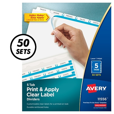 Avery® Index Maker Clear-Label Tab Dividers, 5-Tab, White, 50 Sets/Pack  (11556)