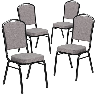 4 Pk Crown Back Stacking Banquet Chair with Herringbone Fabric and Thick Seat - Silver Frame [4-FD-C01-S-12-GG]