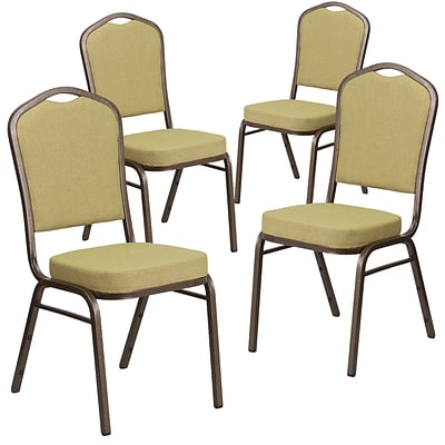 4 Pk Crown Back Stacking Banquet Chair with Navy Fabric and Thick Seat - Silver Frame [4-FD-C01-S-2-GG]