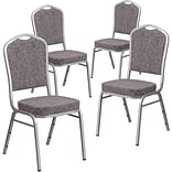 4 Pk Crown Back Stacking Banquet Chair with Brown Fabric and Thick Seat - Copper Vein Frame [4-FD-C0