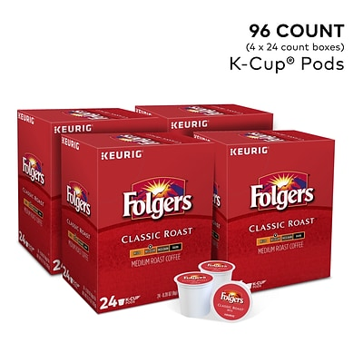 Folgers Classic Roast Coffee, Keurig® K-Cup® Pods, Medium Roast, 96/Carton (204496)