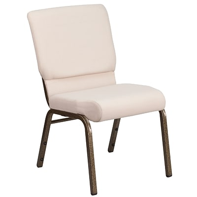 18.5W Beige Fabric Stacking Church Chair with 4.25 Thick Seat - Gold Vein Frame [FD-CH02185-GV-B2-GG]