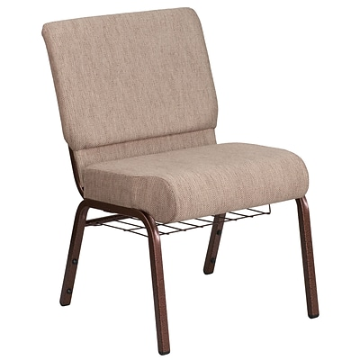 21 Wide Beige Fabric Church Chair with 4 Thick Seat, Book Rack - Copper Vein Frame [FD-CH0221-4-CV-BGE1-BAS-GG]
