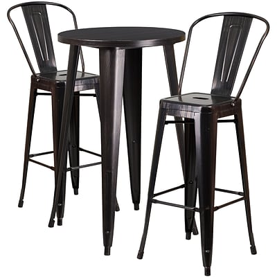 24 Round Black-Antique Gold Metal Indoor-Outdoor Bar Table Set with 2 Cafe Barstools [CH-51080BH-2-30CAFE-BQ-GG]