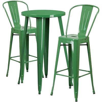 24 Round Green Metal Indoor-Outdoor Bar Table Set with 2 Cafe Barstools [CH-51080BH-2-30CAFE-GN-GG]
