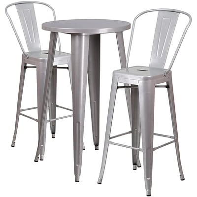 24 Round Silver Metal Indoor-Outdoor Bar Table Set with 2 Cafe Barstools [CH-51080BH-2-30CAFE-SIL-GG]