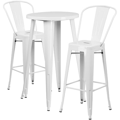24 Round White Metal Indoor-Outdoor Bar Table Set with 2 Cafe Barstools [CH-51080BH-2-30CAFE-WH-GG]