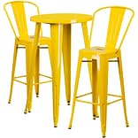 24 Round Yellow Metal Indoor-Outdoor Bar Table Set with 2 Cafe Barstools [CH-51080BH-2-30CAFE-YL-G