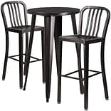 24 Round Black-Antique Gold Metal Indoor-Outdoor Bar Table Set with 2 Vertical Slat Back Barstools