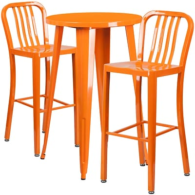 24 Round Orange Metal Indoor-Outdoor Bar Table Set with 2 Vertical Slat Back Barstools [CH-51080BH-2-30VRT-OR-GG]