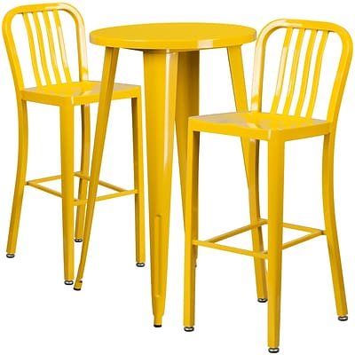 24 Round Yellow Metal Indoor-Outdoor Bar Table Set with 2 Vertical Slat Back Barstools [CH-51080BH-2-30VRT-YL-GG]